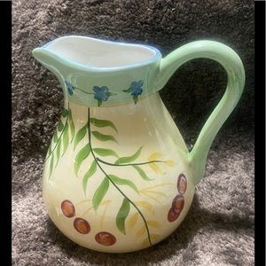 "Pitch olive branch EUC decor kitchen vase 7"" tall"